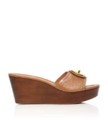 Royal Tan Tory Burch Selma Mid Wedge Slide