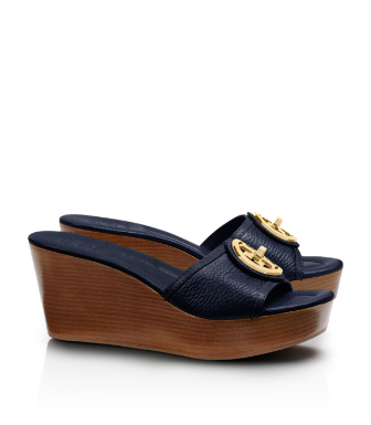 Tory Navy Tory Burch Selma Mid Wedge Slide