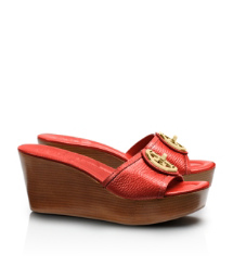 Flame Red Tory Burch Selma Mittelhoher Slipper Mit Keilabsatz