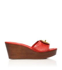Flame Red Tory Burch Selma Mid Wedge Slide