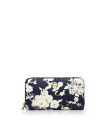 Tory Navy Multi (abbott A) Tory Burch Printed Robinson Zip Continental Wallet