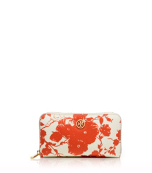 Fire Orange Multi (abbott C) Tory Burch Printed Robinson Zip Continental Wallet