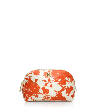 Fire Orange Multi (abbott C) Tory Burch Printed Robinson Makeup Bag