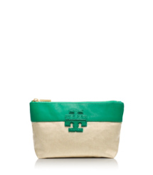 "Emerald City/natural Tory Burch Stacked ""t"" Small Slouchy Cosmetic Case"
