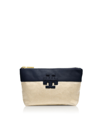 "Tory Navy/natural Tory Burch Stacked ""t"" Small Slouchy Cosmetic Case"
