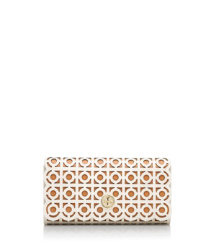 Bleach/aged Vachetta Tory Burch Kelsey Flap Continental Wallet