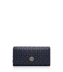 Parisian Blue Tory Burch Kelsey Flap Continental Wallet
