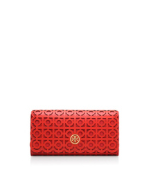 Poppy Red Tory Burch Portefeuille Allongé À Rabat Kelsey