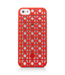 Poppy Red Tory Burch Kelsey Perforated Phone Case For Iphone 5
