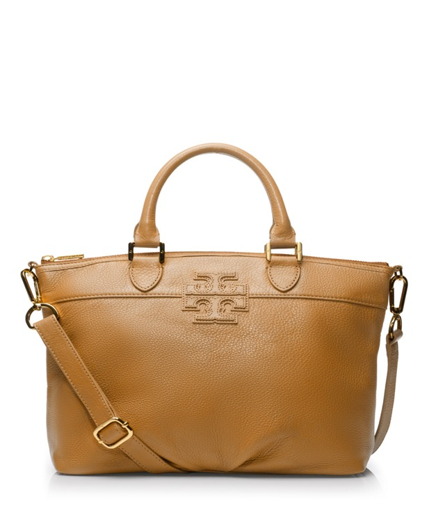 "Small Stacked ""T"" Leather Satchel"