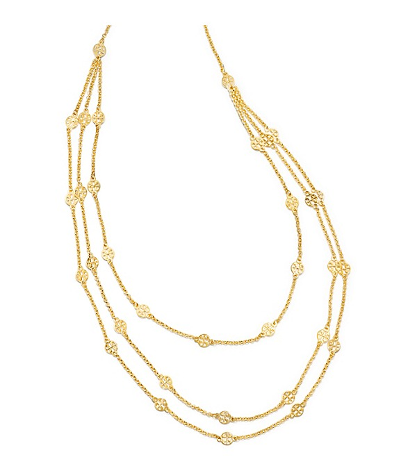 Multi-strand Tory Burch logo necklace