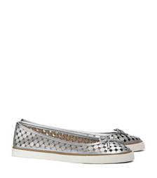 Silver Tory Burch Skyler Perforated Metallic Sneaker