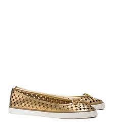 Gold Tory Burch Skyler Perforated Metallic Sneaker
