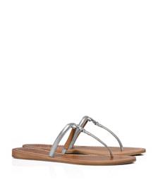 Silver Tory Burch T Logo Metallic Flat Thong Sandal