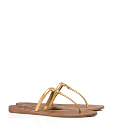Gold Tory Burch T Logo Metallic Flat Thong Sandal