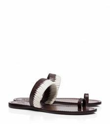 Coconut/coconut-ivory Tory Burch Bi-color Woven Flat Slide