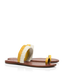 Reptile Yellow/reptile Yellow-ivory Tory Burch Bi-color Woven Flat Slide
