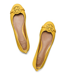 Reptile Yellow Tory Burch Mini Miller Flat