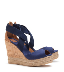 PEEP-TOE CORK WEDGE SANDAL