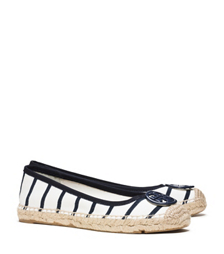 Tory Burch Striped T-shirt Ballet Espadrille