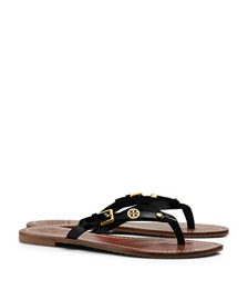 Black Tory Burch Monogram Flat Thong Sandal