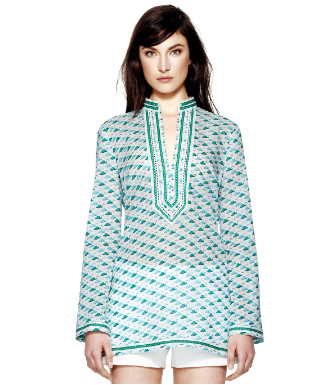Caribbean Blue Small Flamingo  Tory Burch Tory Tunic
