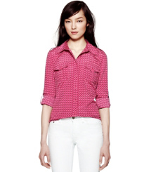 Wine Rose T-zag Small  Tory Burch Silk Brigitte Blouse