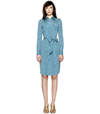Juniper Berry T-zag Small  Tory Burch Silk Brigitte Dress