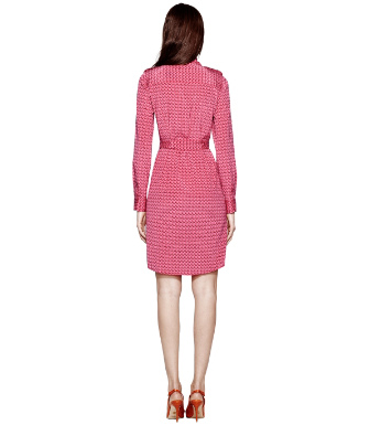 Wine Rose T-zag Small  Tory Burch Silk Brigitte Dress