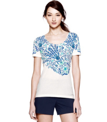 Ivory Akira Placement Tee  Tory Burch Kinley T-shirt
