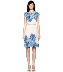 Ivory Engineered Akira Knit  Tory Burch Justina Dress