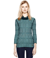 Med Navy Textured Plaid (g) Tory Burch Arielle Sweater