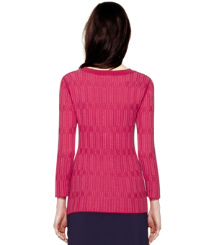 Gooseberry Textured Plaid (f) Tory Burch Arielle Sweater