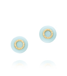 Mint/shiny Gold Tory Burch Burch Stud Earring