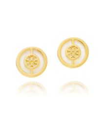 Ivory/shiny Gold Tory Burch Deco Logo Stud Earring