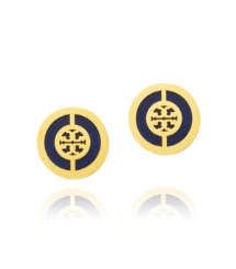 Tory Navy/shiny Gold Tory Burch Deco Logo Stud Earring