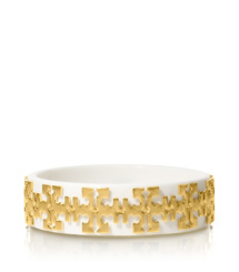 Ivory/shiny Gold Tory Burch Tiled Logo Bangle