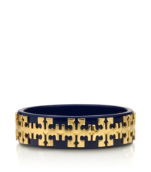 Tory Navy/shiny Gold Tory Burch Tiled Logo Bangle
