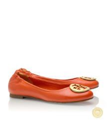 Equestrian Orange/gold Tory Burch Reva Ballet Flat