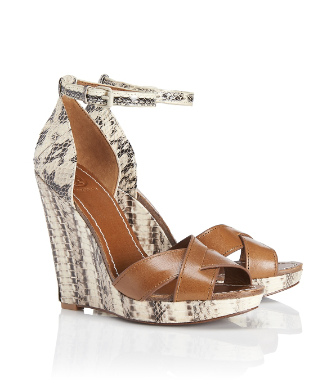 Tory Burch Livia Snake Wedge Sandal
