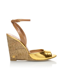 Tory Burch Ashton Sandalette In Metallic Mit Keilabsatz