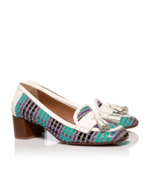Green-black Multi/bleach/bleach Tory Burch Careen Pumps Im Loafer-stil Mit Mittelhohem Absatz