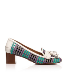 Green-black Multi/bleach/bleach Tory Burch Careen Mid Heel Loafer Pump