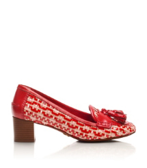 Red-tan Multi/tory Red/tory Red Tory Burch Careen Mid Heel Loafer Pump