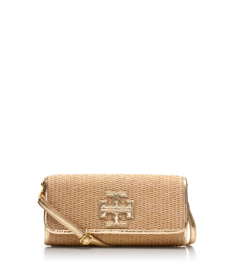 "Tory Burch Stacked ""t"" Metallic Clutch"