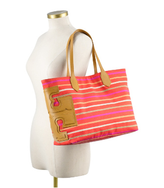 "Tory Burch Stacked ""t"" Stripe Tote"