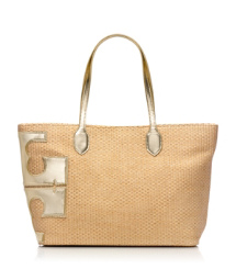 "Tory Burch Metallic Stacked ""t"" Tote"