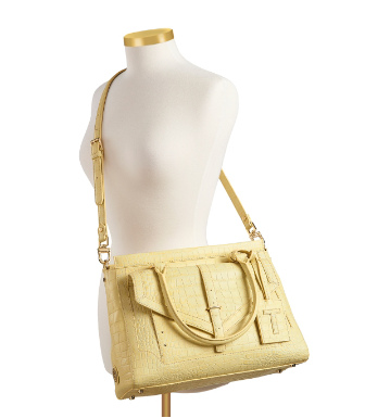 Tory Burch Croc Embossed 797 Large Top Zip Satchel