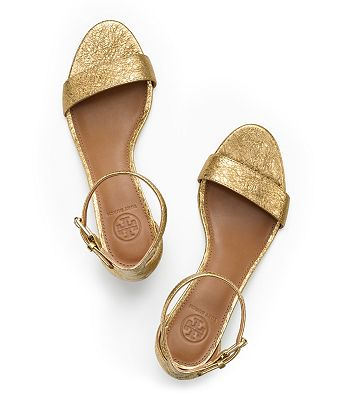 Tory Burch Savannah Metallic Wedge Sandal