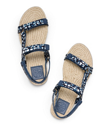Tribal Geo D (blue) Tory Burch Strappy Espadrille Bumper Sandal